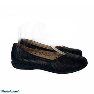 Dansko Neely Black Leather Perforated Ballet Flats